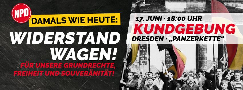 Heraus zur Kundgebung der NPD am 17.06.2020 in Dresden!